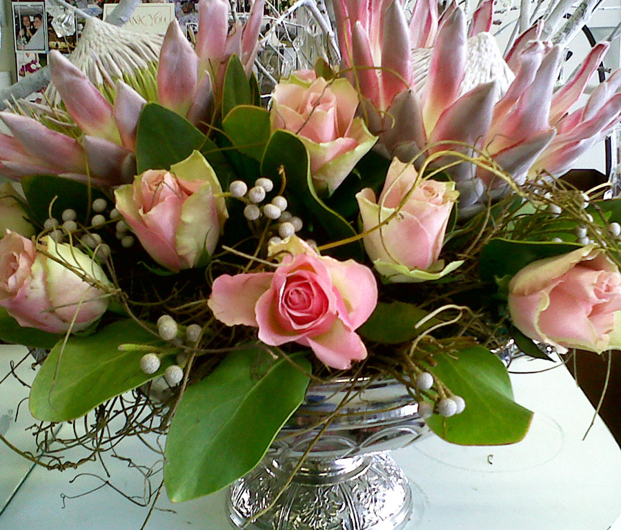 pink roses in silver vase