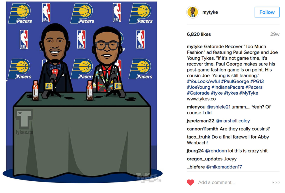 @MYTYKE  does fun illustrations of athletes. He found our ad on his own, and made some awesome illustrations.