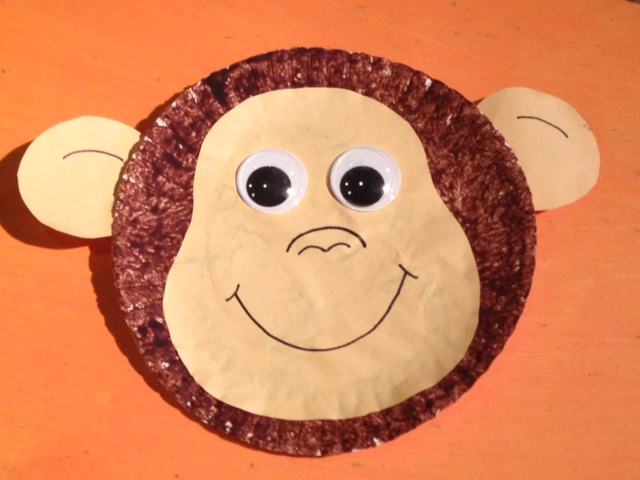 Make a monkey face using paint and paper plates & Messy Monday - Paper Plate Monkey u2014 AHA! A Hands-On Adventure A ...