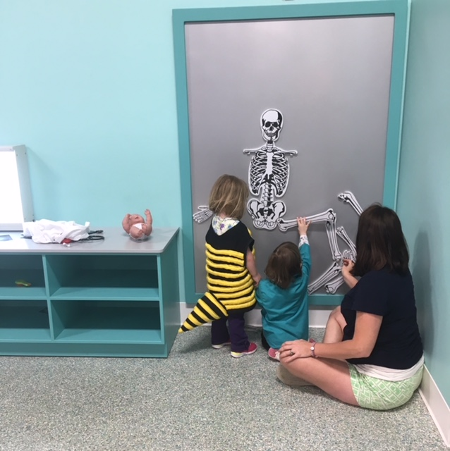 HEALTH CENTER EXHIBIT  Give our babies an exam and shots, look at x-rays and assemble a magnetic skeleton puzzle.   Funded by : South Central Power Foundation, Fairfield Medical Alliance, The Chiropractic Group, Gentle Dental Care, and Halteman, Fett and Dyer funeral Home