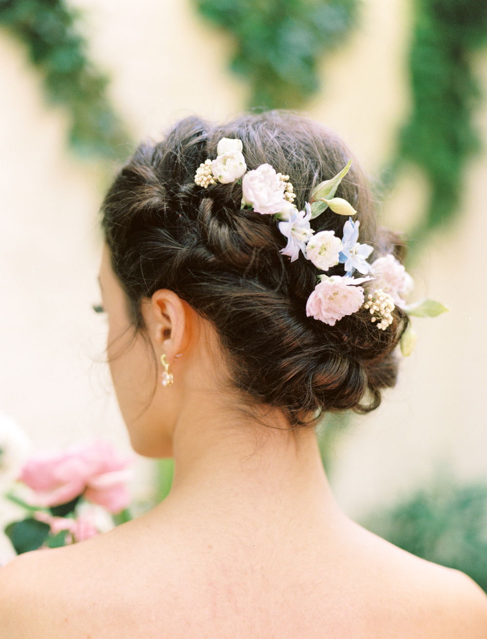 elegant texas garden wedding hair and makeup flower crown inspiration from The Wildflowers | follow us on instagram: @ thewildflowers.events