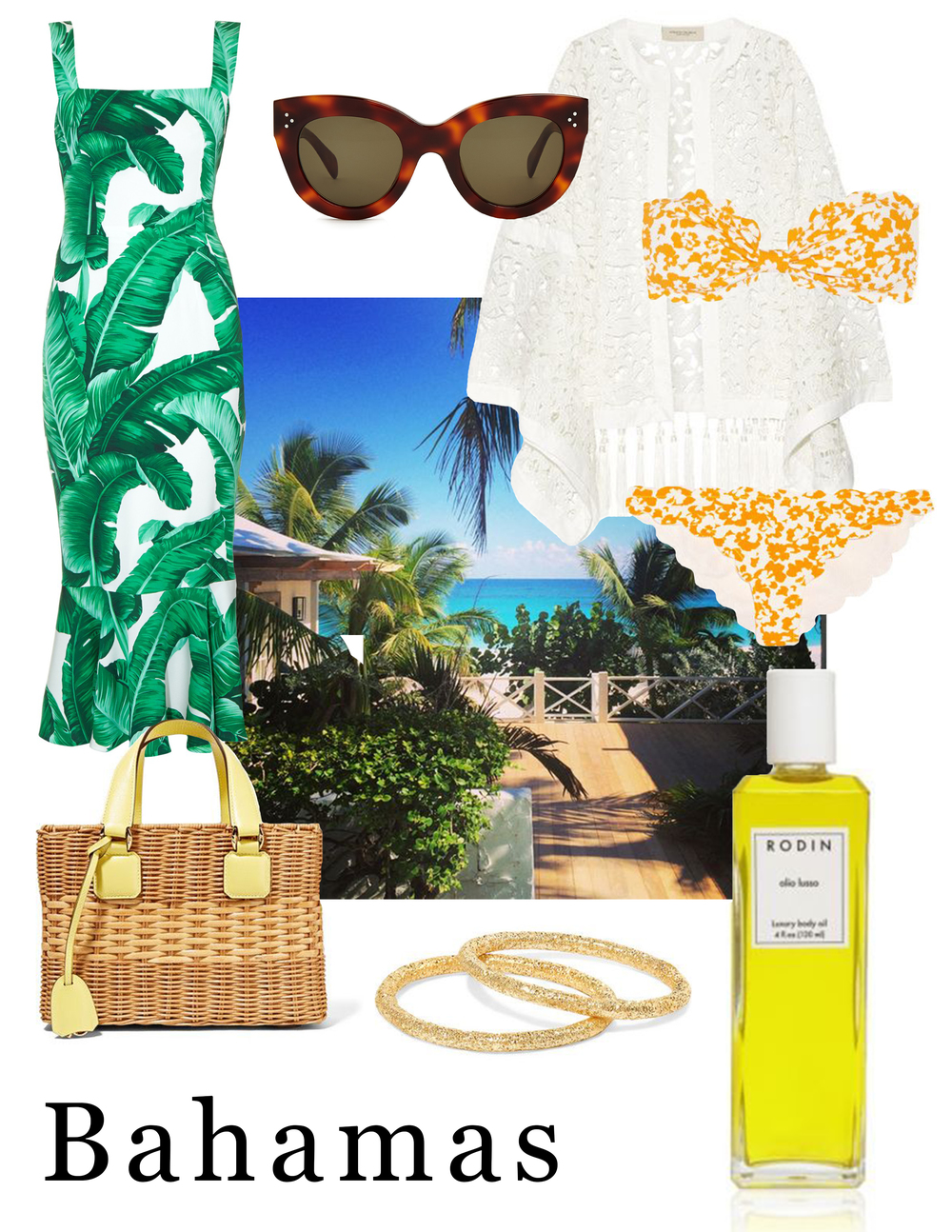 Packing inspiration: dark sunglasses to fend off the Atlantic sun (Celine); a palm-leaf-print dress (Dolce & Gabbana); carefree hammered gold rings (Carolina Bucci); a classic white coverup (Adriana Degreas); a vibrant swimsuit (Marysia); a classic wicker bag (Mark Cross); nourishing body oil (Rodin).
