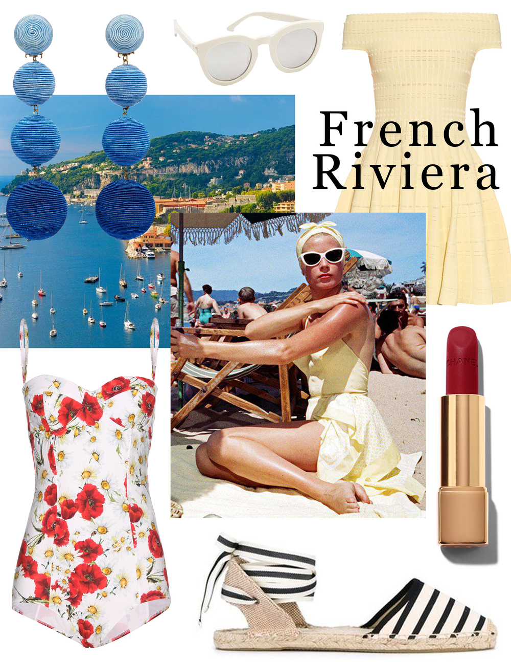 Packing inspiration: a lemondrop dress à la Grace Kelly (Alexander McQueen); white sunglasses (Saint Laurent); silk thread earrings (REBECCA DE RAVENEL); a retro silhouette swimsuit (Dolce & Gabbana); lace-up espadrilles (Soludos); a long-wear lipstick (Chanel).