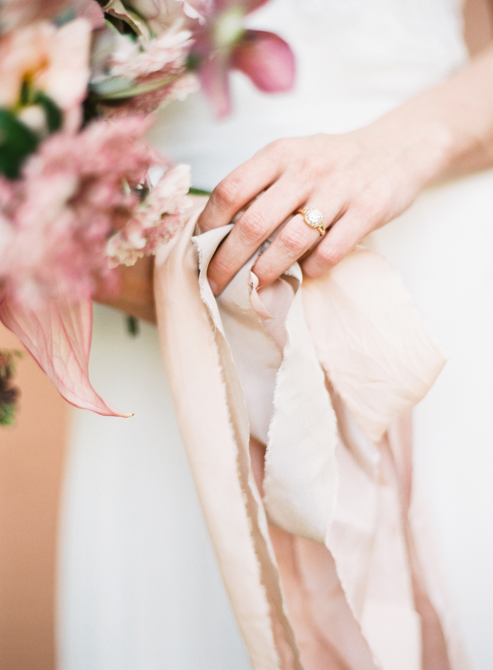 Trumpet & Horn vintage engagement ring with frou frou ribbon | terracotta pink wedding inspiration designed by The Wildflowers | follow us on instagram: @ thewildflowers.events