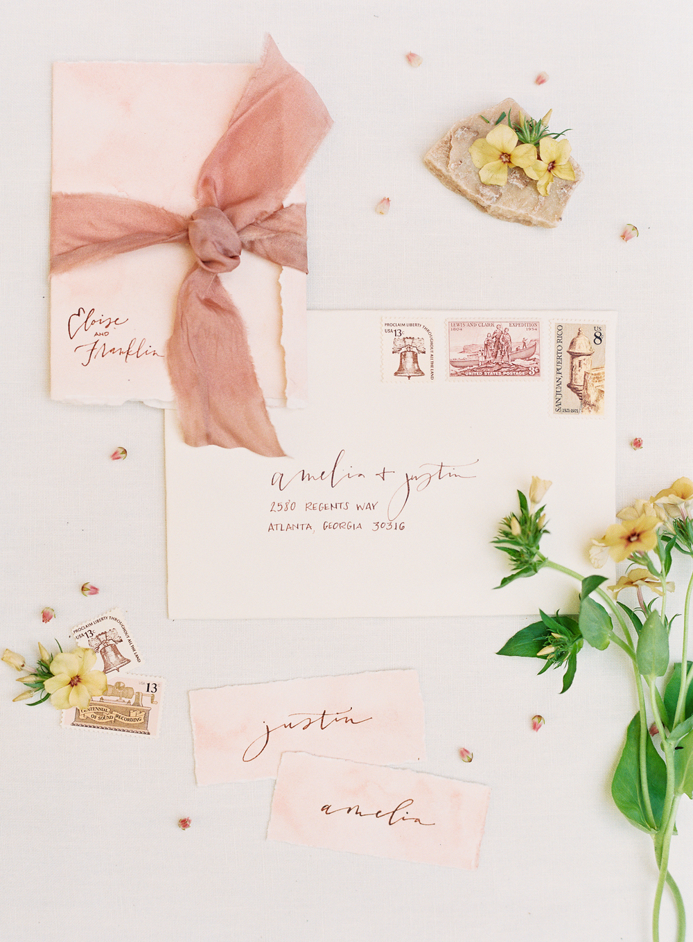 wedding invitation suite by Script Merchat | terracotta pink wedding inspiration designed by The Wildflowers | follow us on instagram: @ thewildflowers.events
