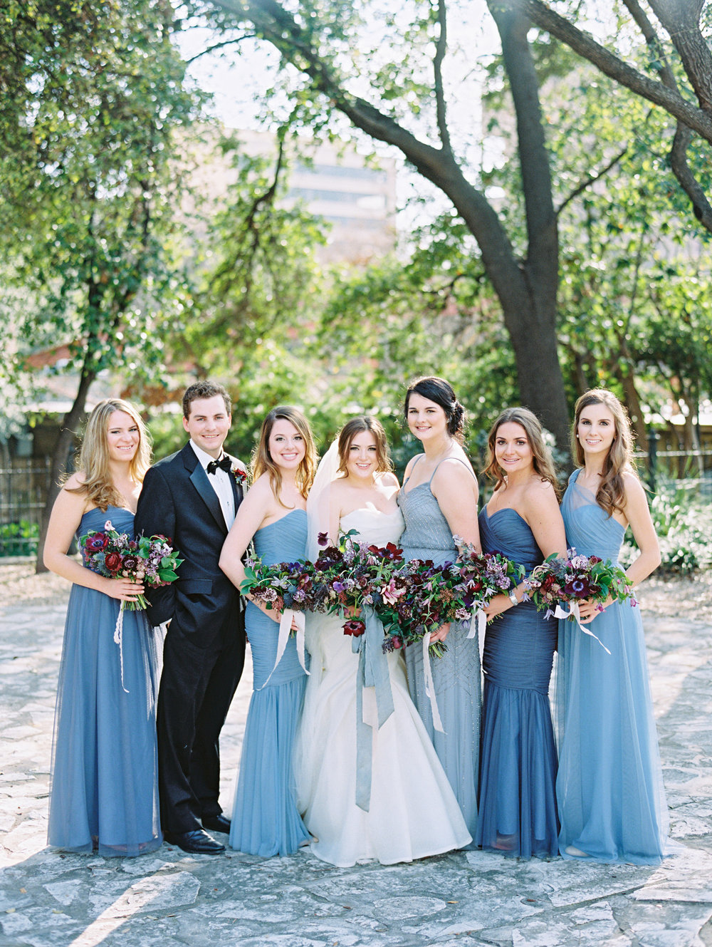 Dusty blues and light ceruleans: perfect palette for a bridal party | The Wildflowers featured on Martha Stewart Weddings | Instagram: @ thewildflowers_com | www.thewildflowers.com