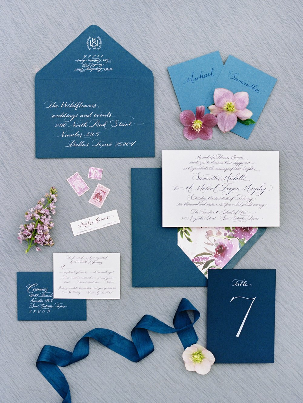 Deep, luxe blues and light translucent watercolors inspired this invitation suite | The Wildflowers featured on Martha Stewart Weddings | Instagram: @ thewildflowers_com | www.thewildflowers.com