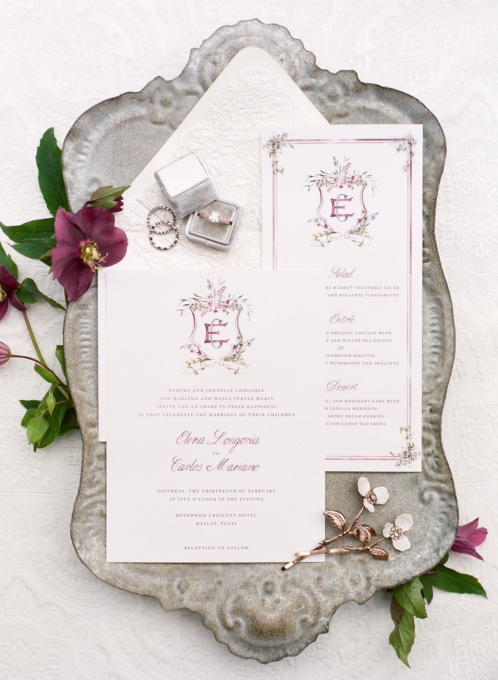 Arabella June watercolor crest wedding invitations design with The Wildflowers | featured on Style Me Pretty | follow along on instagram: @ thewildflowers_com