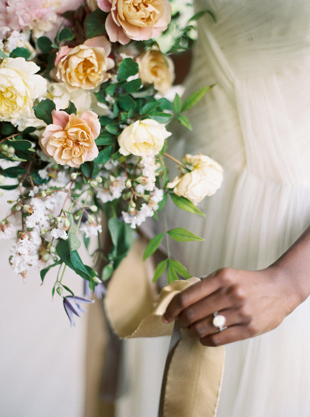 bridal bouquet yellow halo engagement ring | follow us on instagram: @ thewildflowers_com