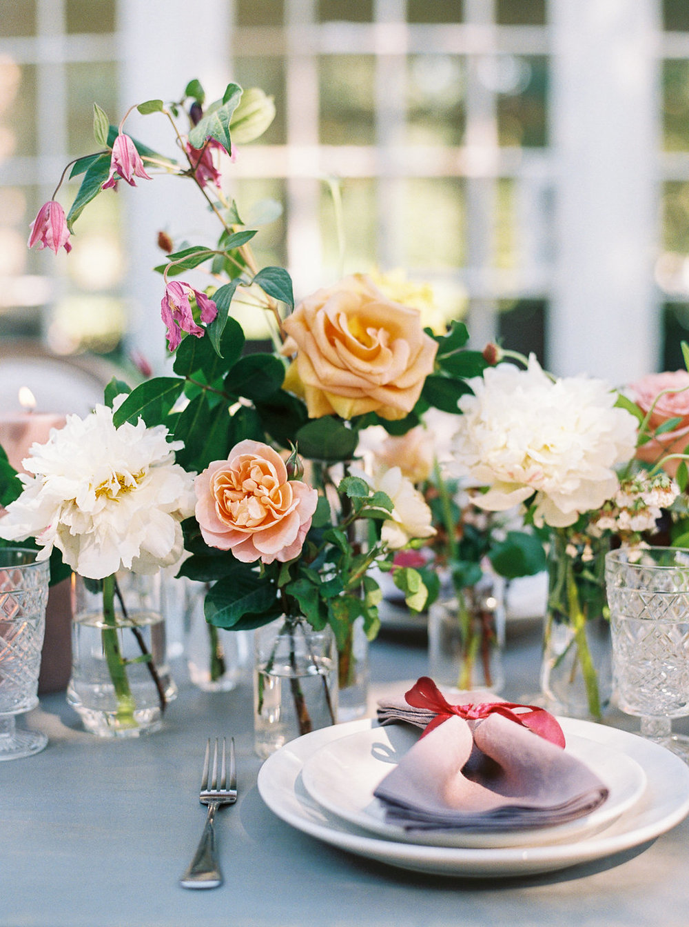 bud vases floral tablescape wedding reception | follow us on instagram: @ thewildflowers_com