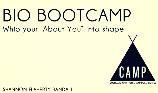 "Summer 2014, I taught my first BIO BOOTCAMP at UNIQUE CAMP in Big Bear, California. Hosting several workshops, I helped creative campers whip their brand bios and ""about"" sections into shape."