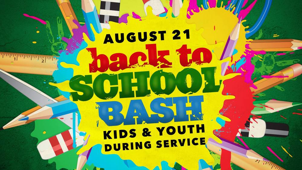 Bring the kids and join us this weekend for our annual Back to School Bash Sunday August 21st at 10:30a. Bring a change of clothes for the kids as they will be having some water fun and getting wet.
