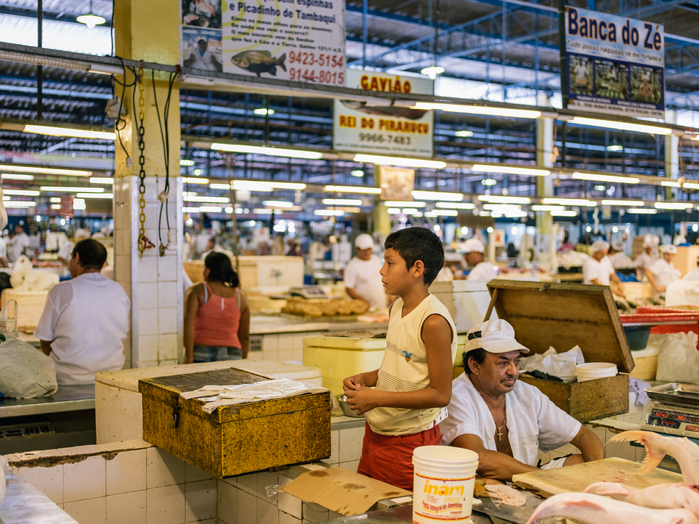 A young fish market worker.