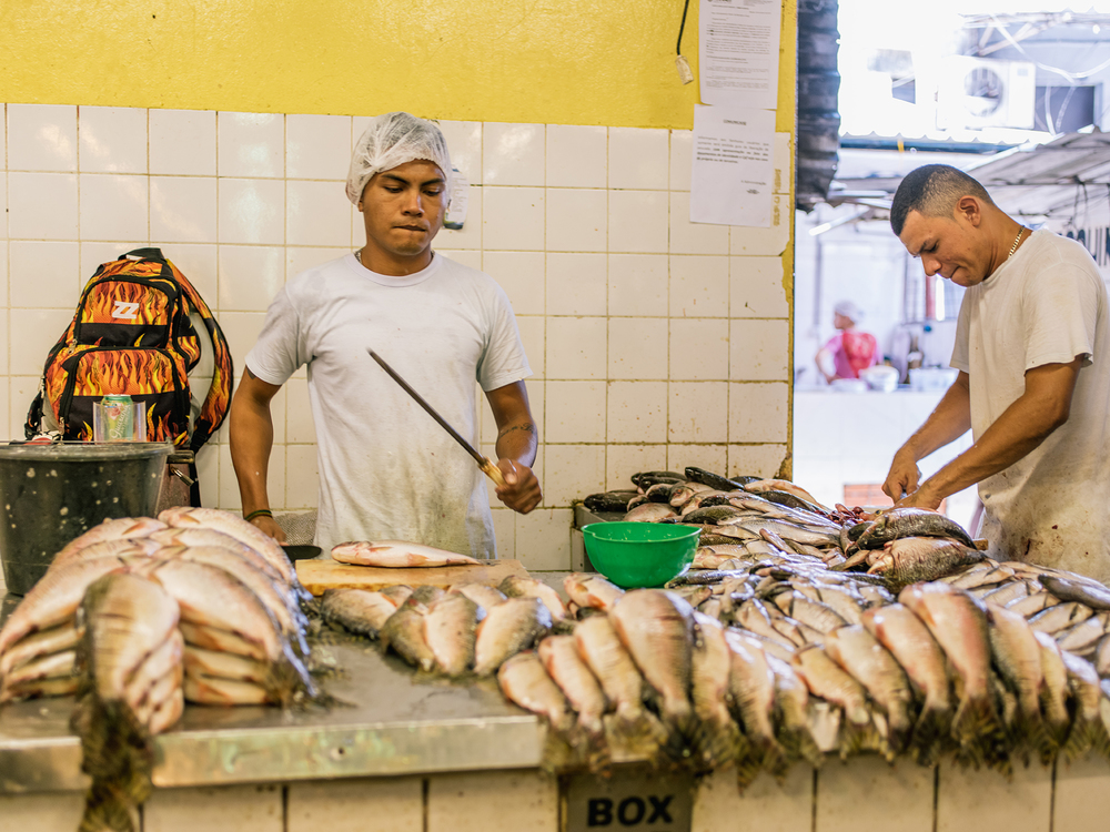 Workers constantly cleaning and setting out fish for sale.