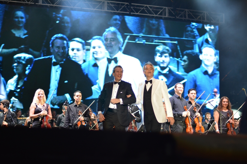 Master Tenor Andrea Bocelli exits the stage after a flawless performance