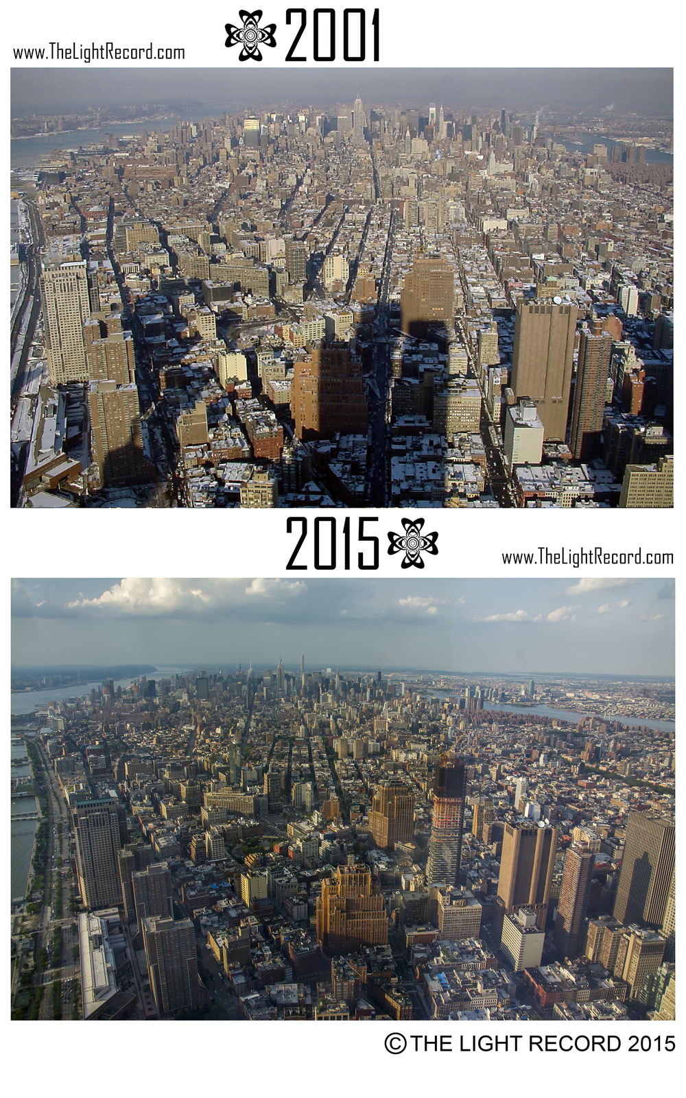 These views, like all of these comparative photos, were taken from the original WTC and the new One World Observatory respectively.  The shadows from the original building will forever haunt the New York City skyline, as well as our memories.