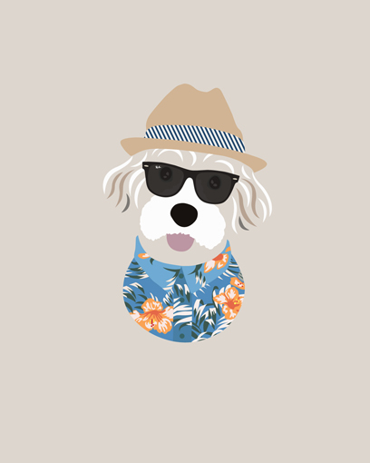 'It's mama and papa's anniversary today and I was the gift! Thanks @woofmodels for capturing my inner island chill.' - @kimocoton