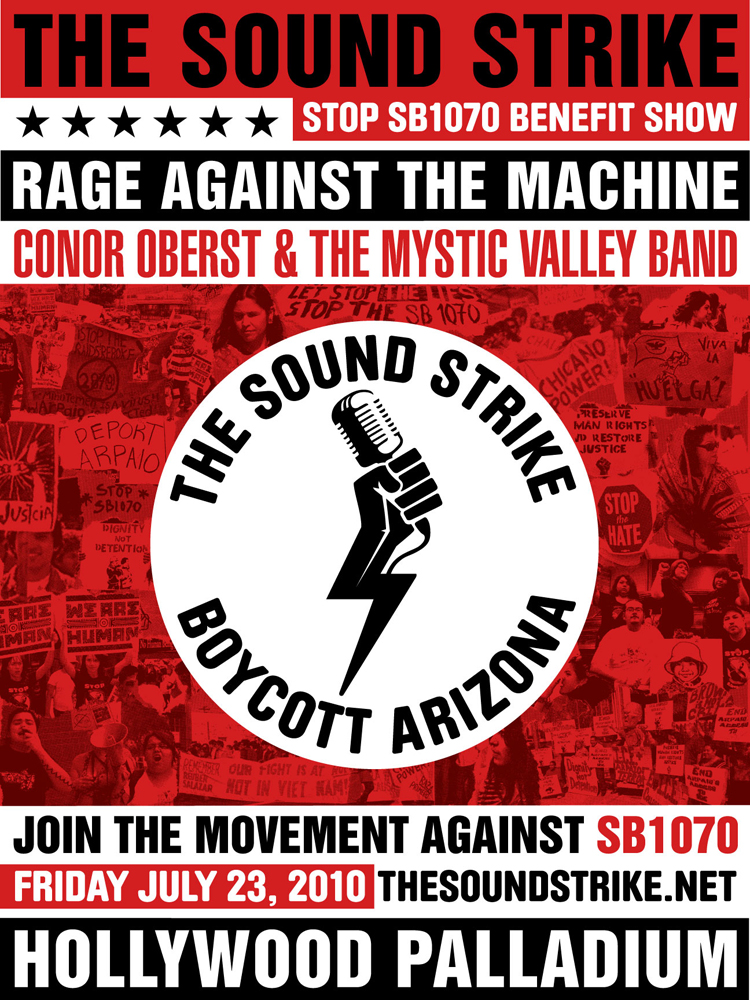 Rage Against the Machine benefit show for The Sound Strike show poster.
