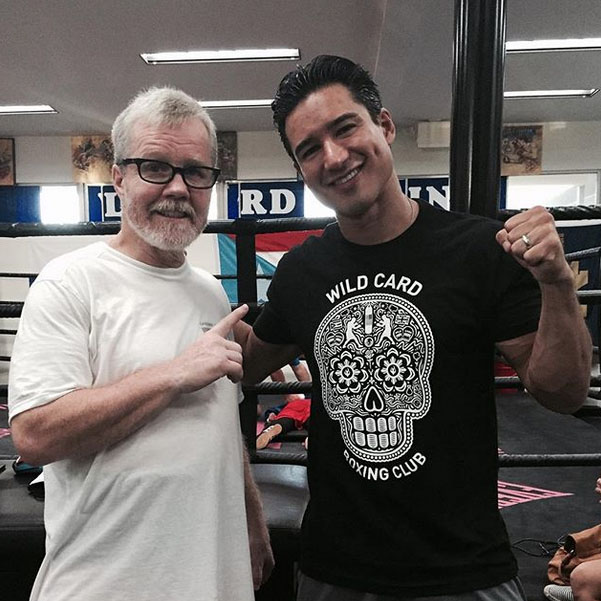 Mario Lopez and Freddie Roach.  T-Shirts to be sold on WildCardBoxingStore.com