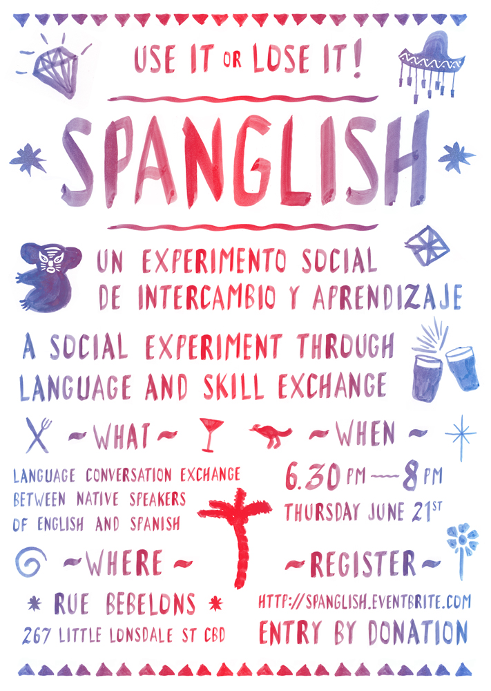 A little poster I did a while ago for a Spanish-Engligh language exchange night. Inspired by hand painted signs in Mexico.
