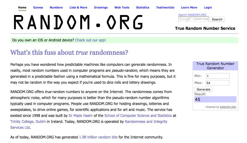Random Winner #45 via www.random.org