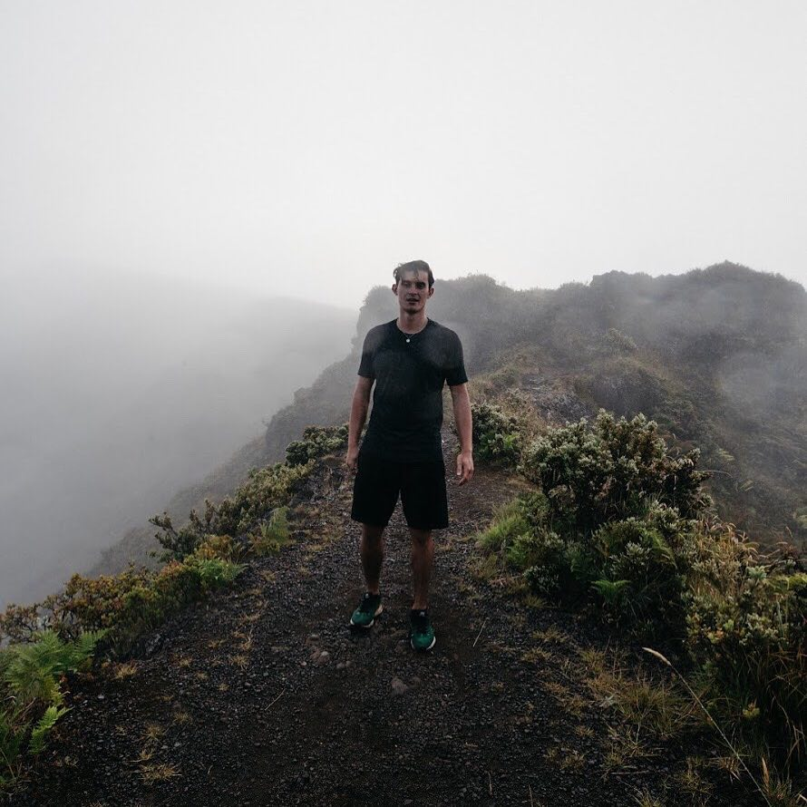 "Snow hiking Haleakalā Crater in July 2018 for a scene in his first music video for the single ""Going Down.""  Photo by Sebastian Sayegh"