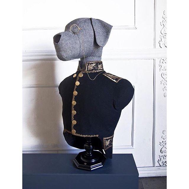 This doggy bust is wearing an antique dress coat that belonged to an original 18th century opera play from Barcelona´s opera house, el Liceu. -------------------------------------- Este busto perruno lleva una casaca antigua  de una opera original del s. XVIII del Liceu de Barcelona.