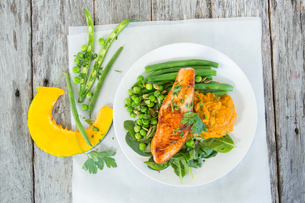 Chermoula salmon on roast pumpkin mash with green beans and peas (2).jpg