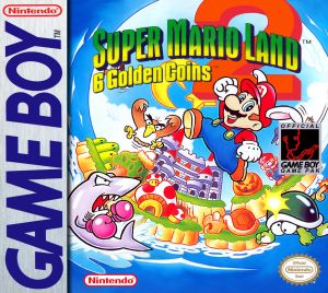 The original box art for Super Mario Land 2: 6 Golden Coins
