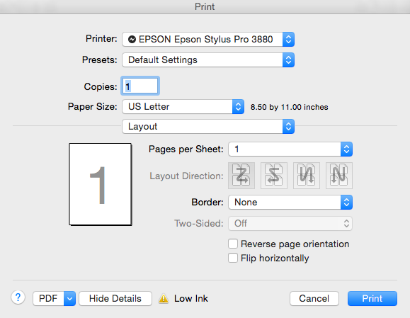 Print Settings dialog box