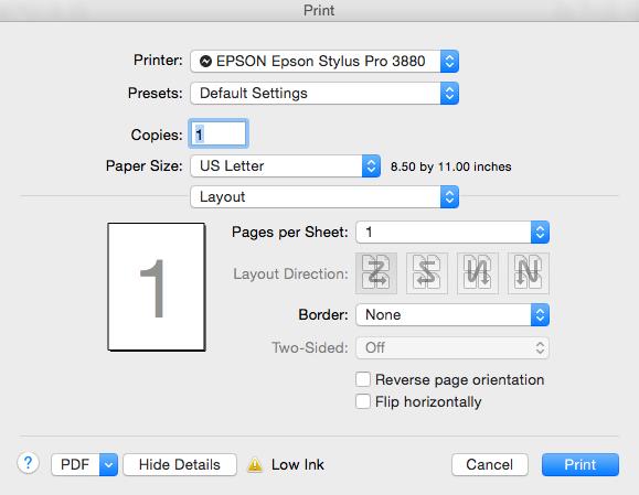 Print Settings dialog box