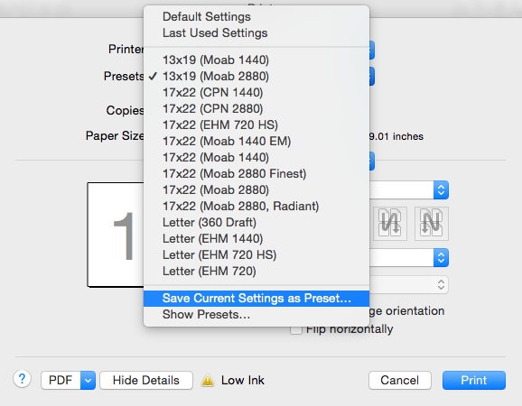 "Select ""Save Current Settings as Preset..."" I have a lot of presets!"