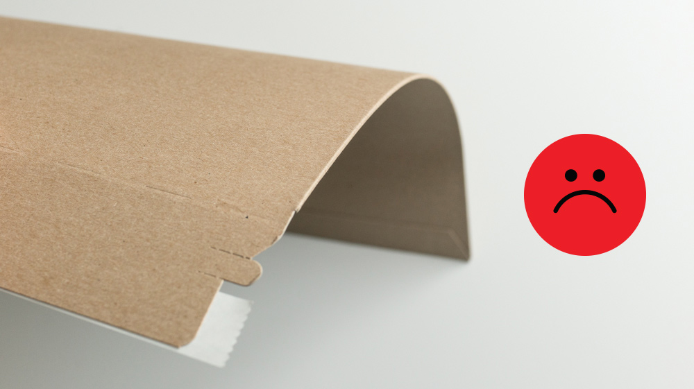 Contrary to their name, stay-flat mailers are not as rigid as you might think. Shown is a 12 3/4x15 mailer without any reinforcement.