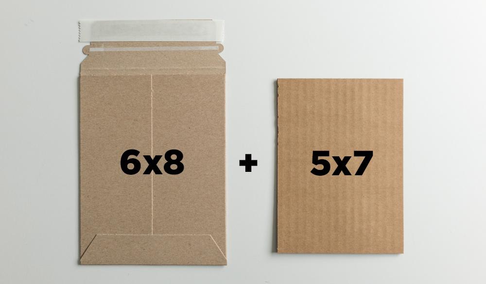 "6x8"" mailer + one sheet of 5x7 cardboard"