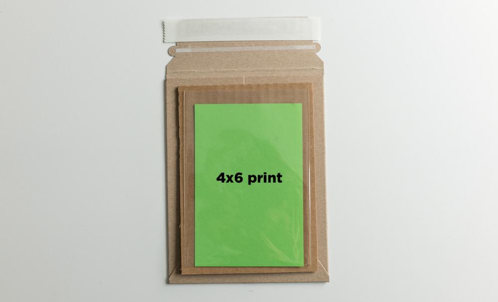 "Example:  Sleeved 4x6"" print + 5x7 backer"