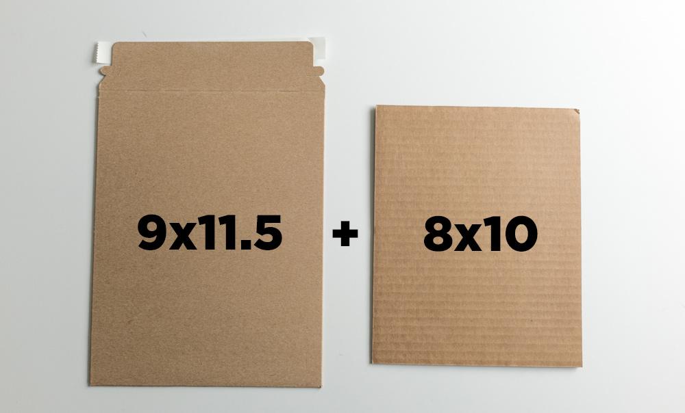 "9x11.5"" mailer + one sheet of 8x10 cardboard"