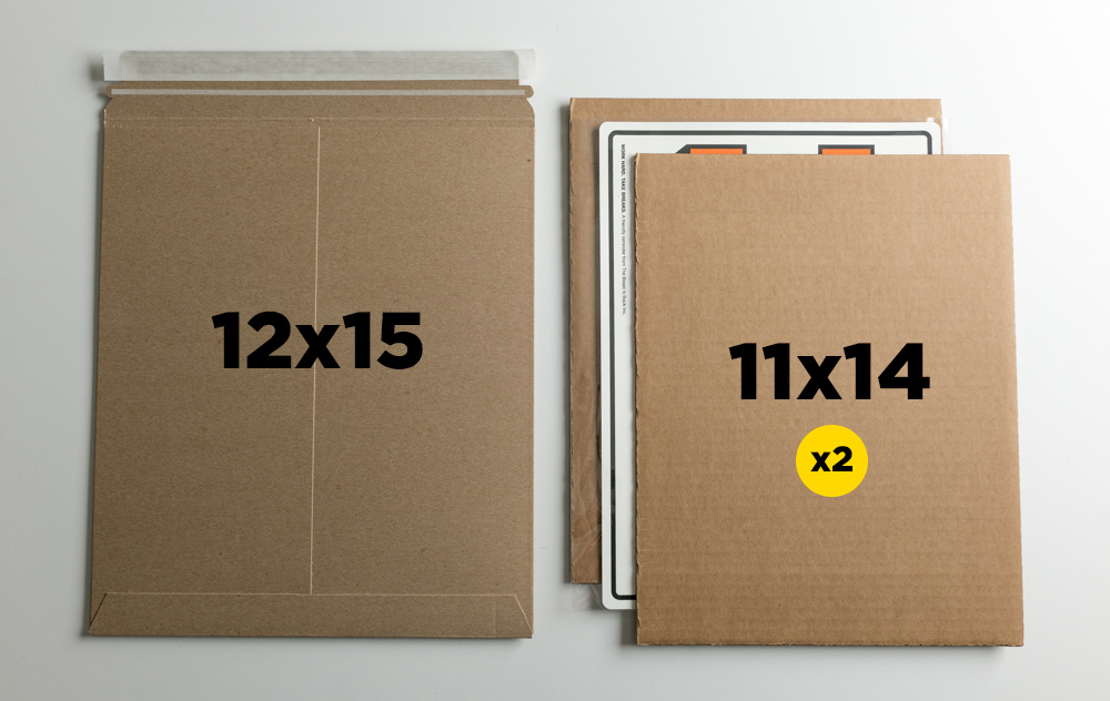 """OPTION B:  A 12x15"""" mailer will expand enough to accommodate two 11x14"""" cardboard sheets. Sandwich the print between the two."""