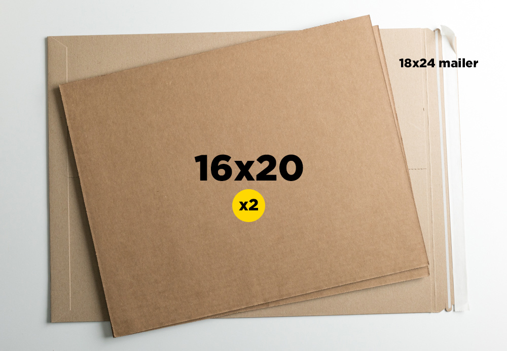 """18x24"""" mailer + two 16x20"""" cardboard sheets. Sometimes I use three 16x20"""" sheets for more critical shipping applications."""