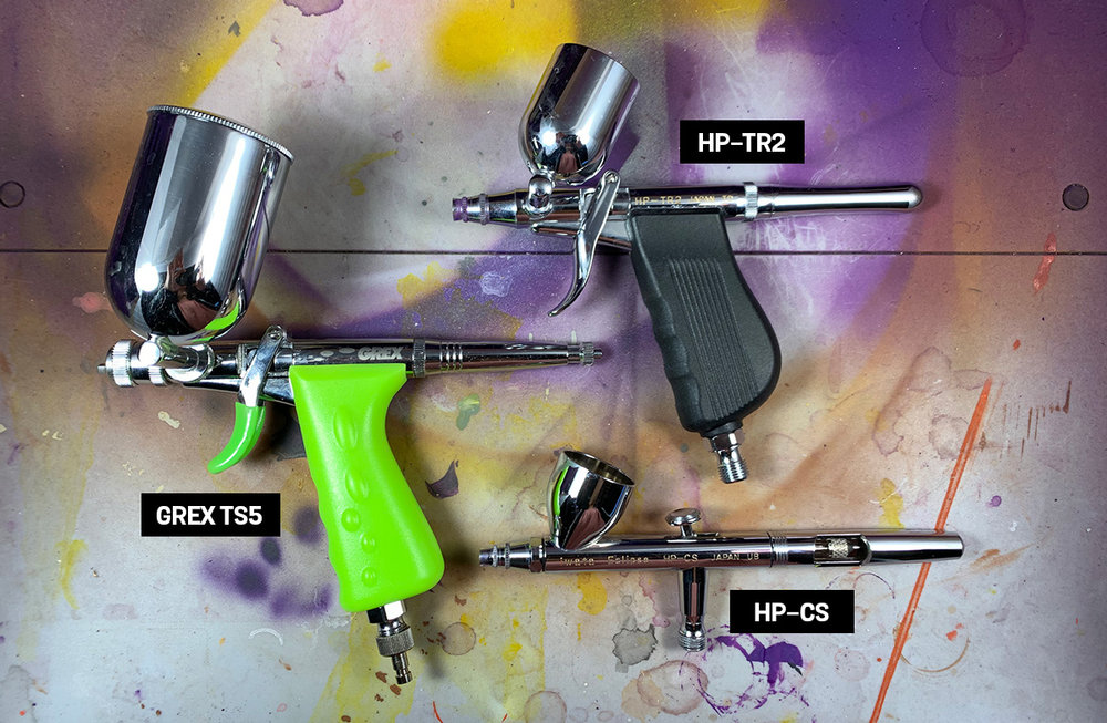 Using a variety of airbrushes with different nozzle and paint cup sizes gives me a lot of flexibility during painting sessions.