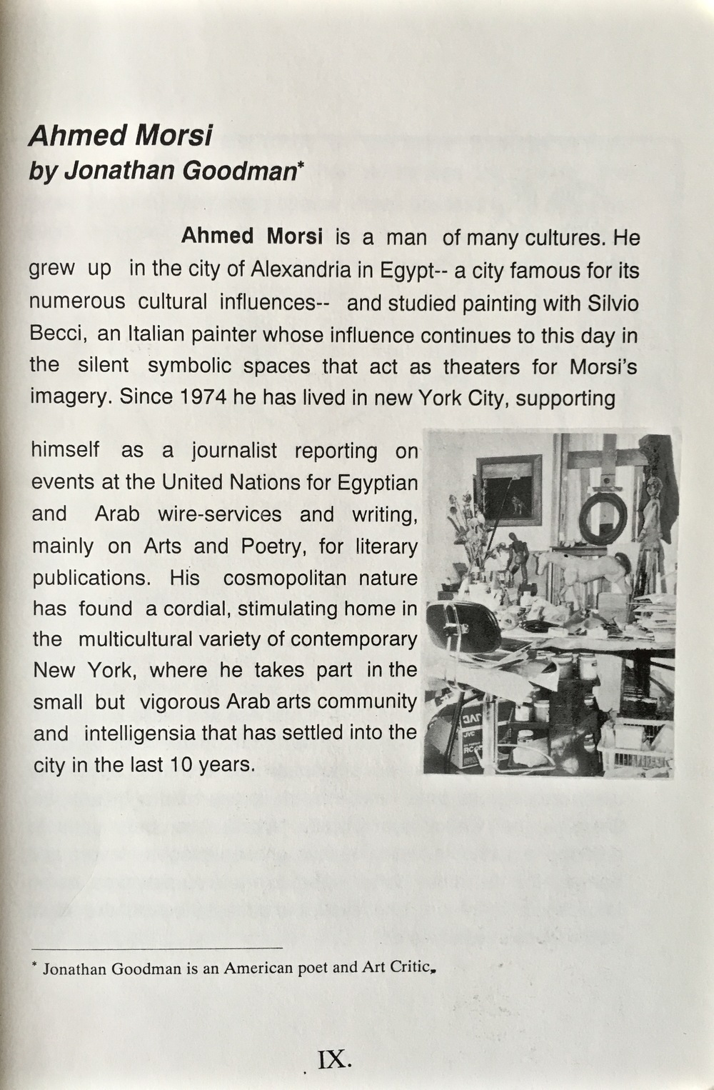 """AHMED MORSI"" Introduction by Jonathan Goodman"
