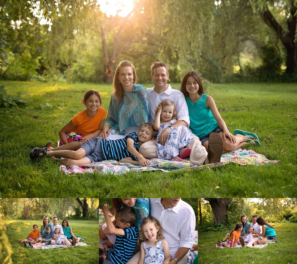 family photos at sunset