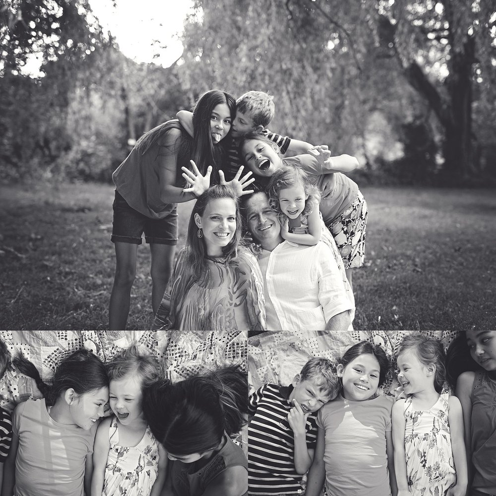 silly family photos in black and white