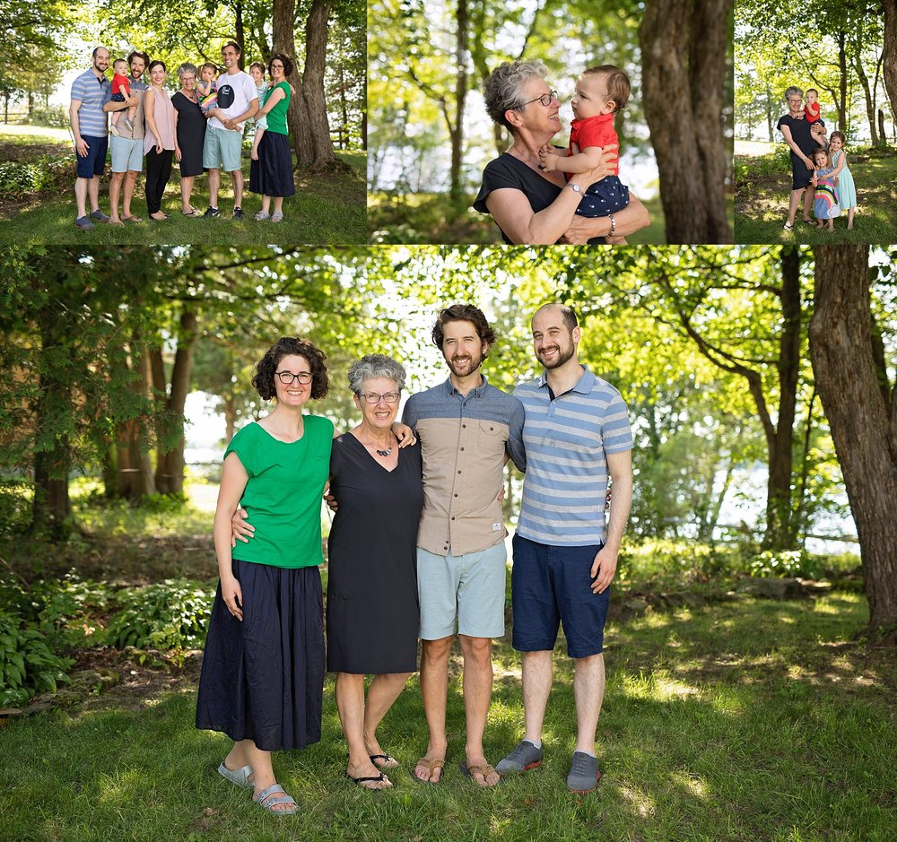 family photos at cottage
