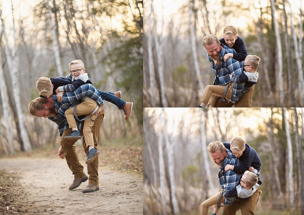 father and sons playful portraits