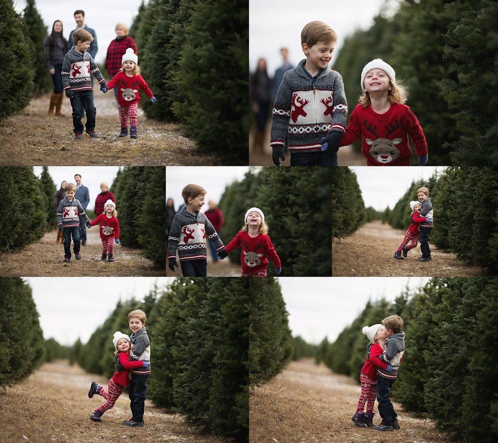 children playing at tree farm