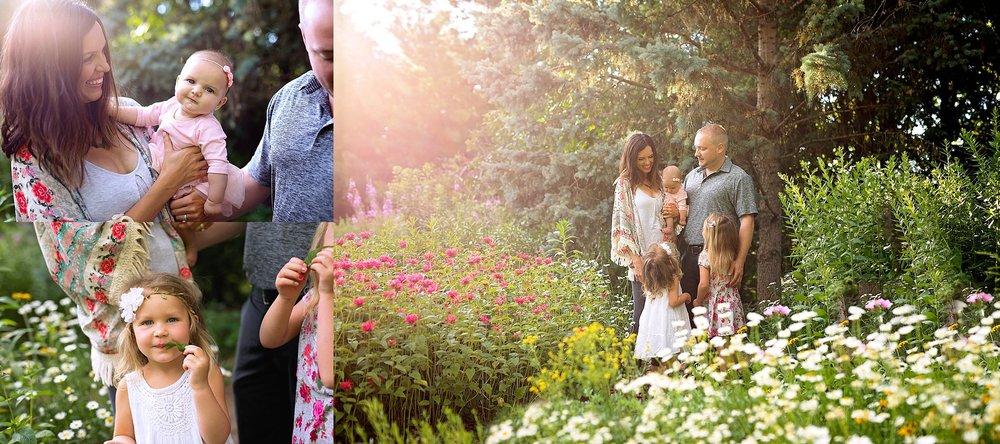 Family photos in garden, Ottawa ON