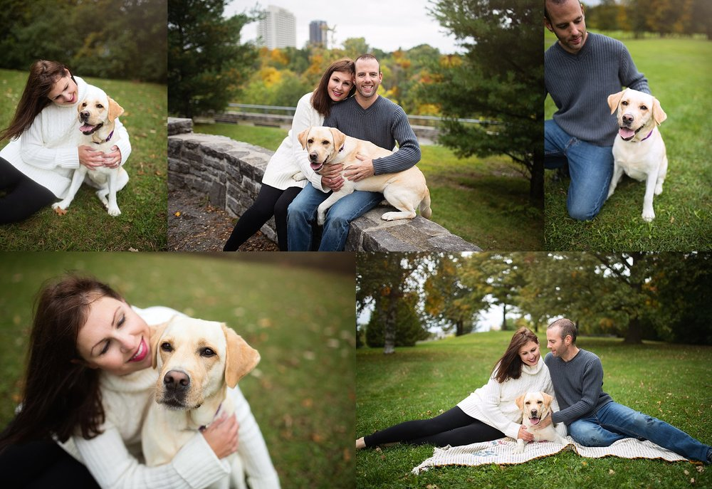 fall family portrait with pet