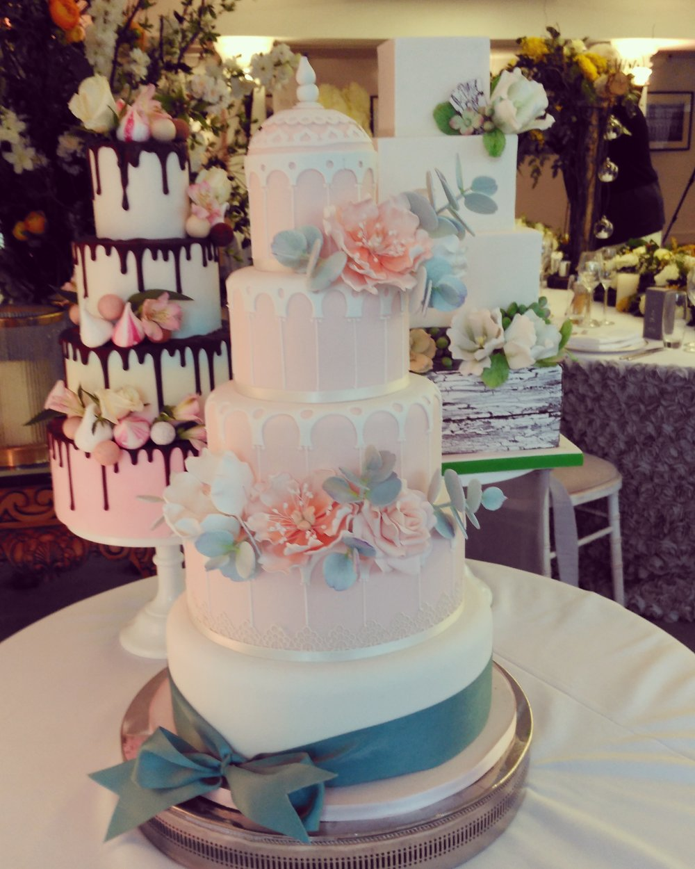 Wedding cake display at Hampton Court Place, London