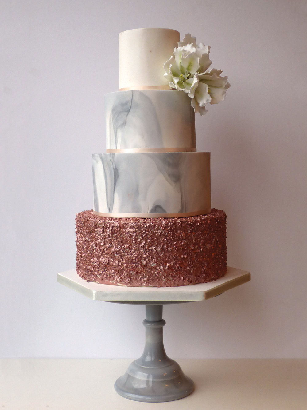 "10"" Marble Grey Pedestal Stand  Hire £30  Deposit £90  Looks great with: any cake!"
