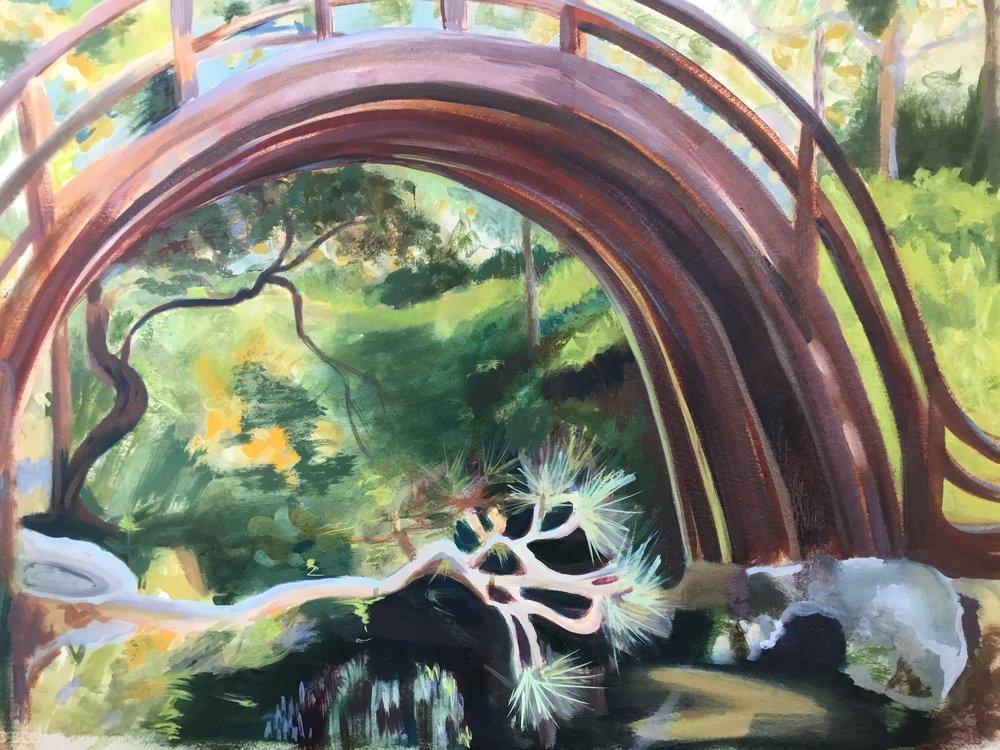 Moon bridge oils on paper   74cm x 52cm   2017